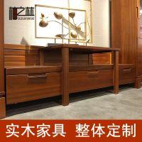 柚之林 新中式柚木实木家具 电视柜 视听柜 客厅家具厂家定制