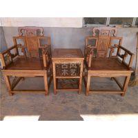明清仿古全实木家具木雕寿星太师椅沙发 多功能组合休闲三件套