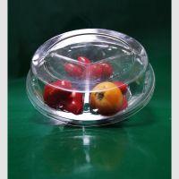 厂家直销 一次性三格塑料盒批发 圆形水果塑料盒 透明塑料食品盒