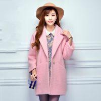 2014秋冬新款韩版毛呢外套女加棉大衣中长款修身毛呢大衣女好质量