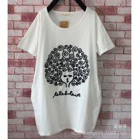 2015女夏装韩版宽松圆领印花 上衣短袖打底衫学生姐妹装T恤