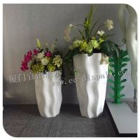 直销商场玻璃钢休息凳 白色玻璃钢花缸 高档组合条纹花缸