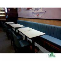 厂家定制现代餐厅、大理石餐桌配卡座沙发 卡座沙发厂家运达来定做