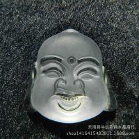 纯天然白水晶吊坠阿弥陀佛头挂件护身符男女礼物笑佛项坠