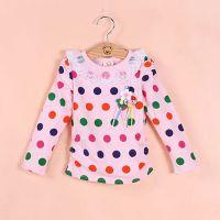 品牌童装 2015夏款童装 纯棉圆领波点女童长袖T恤 夏季长袖打底衫