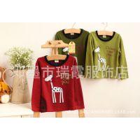 14年春款 韩版外贸童装 男童长袖针织衫 儿童卡通打底衫 T恤
