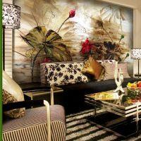 3D立体d大型客厅卧室床头电视背景墙纸壁纸 抽象荷花油画手绘壁画