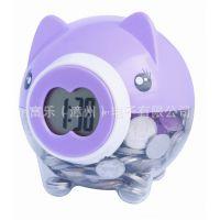 储蓄钟创意花盆时尚电子礼品塑料礼品猪型礼物电子钟加储蓄罐