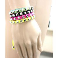 速卖通 Ebay外贸货源 荧光七彩糖果色手工编织handmade铝链手链