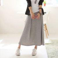2015夏季新款日韩女装外贸原单复古百搭纯色纯棉包臀长款半身裙女
