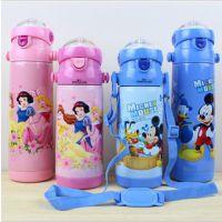 正品 迪士尼儿童保温杯保温壶/学生儿童带吸管不锈钢保温水杯杯子