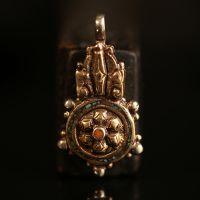 厂家热销原创设计DIY饰品配件尼泊尔铜珠吊坠绿松石项坠夹子卡子