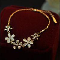 韩国镀UV保色金镶钻雏菊花朵手链 Ebay速卖通货源 ALQG2014060