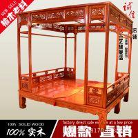 架子床 仿古实木床 中式架子床仿古 木雕床 明清古典床 三面围栏