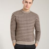 男士貂绒衫 秋冬男士保暖打底衫男装 加厚貂绒条纹男士毛衣羊毛衫