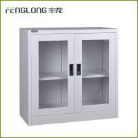 丰龙家具特价简约双层对开玻璃门资料矮柜文件柜铁皮柜档案柜储物柜
