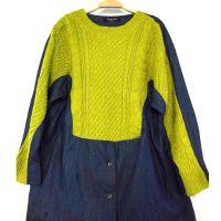 厂家直销 韩版牛仔布针织相拼衬衫 韩版风女打底衫 针织女装批发
