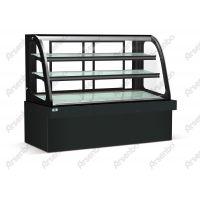 卧式钢化弧面玻璃展示冰柜/西餐厅用品/弧形蛋糕柜/前开门面包柜
