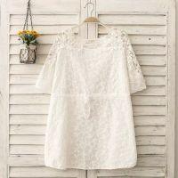 批发2015夏款女装 日系甜美肩蕾丝风车刺绣宽松中长款短袖衬衫