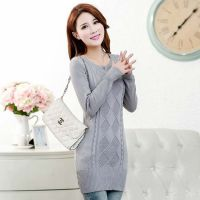 2014秋冬新款针织衫韩版圆领套头中长款包臀修身女式打底衫女毛衣
