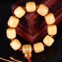藏式天然黄色水牛骨桶珠男士文玩精品牦牛角骨质单圈佛珠手串念珠