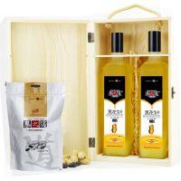 供黑花生油木盒礼盒 厂家直供 健康营养富硒黑花生油