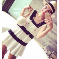 小银子2015夏装新款撞色条纹荷叶边舒适棉质娃娃连衣裙Q6139#