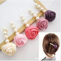 CR-147  8个颜色混发玫瑰花朵珍珠发夹边夹顶夹 100元饰品混批