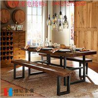 【厂家出售】实木餐桌/咖啡桌田园清新做旧时尚餐厅家具定做