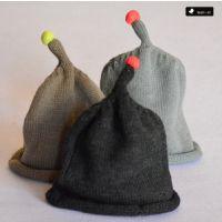 韩国原单秋冬款婴儿童荧光球豆丁帽男女宝宝毛线帽子