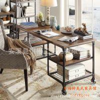 美式书桌实木欧式电脑桌铁艺办公桌复古书房家具轮式设计书桌子
