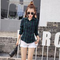 秋季新款2016韩版女装韩版学院风红绿撞色格子棉质衬衫百搭打底衫