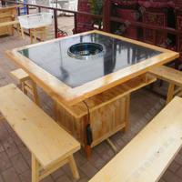 时尚酒店实木火锅桌 火锅店专用桌子 隐形火锅桌