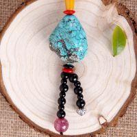 批发供应服装饰品 绿松石长款串珠项链 天然水晶黑玛瑙毛衣链Z047