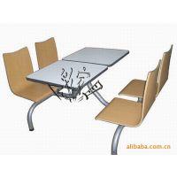 专业定制 麻辣烫店餐桌椅组合 四人位连体快餐桌椅 防火板餐桌椅