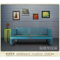 古朴彩漆 新中式仿古家具老榆木罗汉床实木现代明清古典沙发床榻