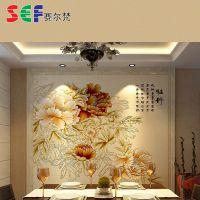 生产供应 牡丹颂电视沙发背景墙 精雕幻彩内墙砖