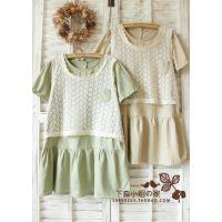 7110连衣裙日系森林系夏季棉麻蕾丝背心短袖假两件娃娃衫甜美 现