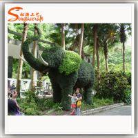 园艺大象绿雕 绿色草皮大象 大象雕塑 园艺动物