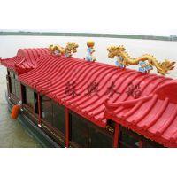 12米双龙画舫旅游船 木质画舫船 旅游景区电动观光木船 苏兴制造