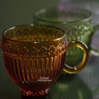 zakka 欧式复古浮雕竖纹玻璃咖啡杯子奶茶杯茶杯透明水杯 马克杯