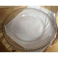 电镀圆珠玻璃盘子 镀金珠珠玻璃果盘 镀银透明果盘