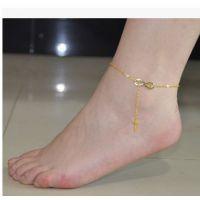G070速卖通新品 韩国人气十字架 时尚OL百搭款可爱蝴蝶结脚链女