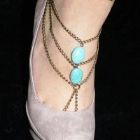 欧美外贸饰品青岛批发绿松石脚链 多层链条连指脚链女
