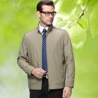 2015春装新款中年男式夹克 利郎男士立领休闲纯色薄外套一件代发