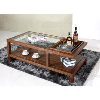 苏州实木家具工厂直销北美黑胡桃玻璃茶几合和木缘家具现代简约