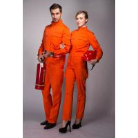 重庆彪神服饰订做 防护工装(套装)防火阻燃服、桔红色、纯棉 XS-4XL