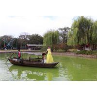观光木船四川成都景区旅游船摇橹船影视拍摄船仿古木船休闲客船