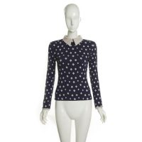 I'M PRINCESS精品提花字母方块翻领长袖女式打底衫2014新款2276