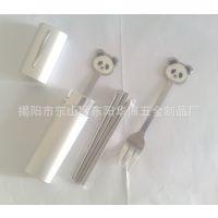 供应不锈钢熊猫勺叉餐具,铝盒套装熊猫勺叉不锈钢餐具